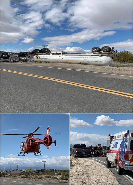 Valley Briefs: OCOTILLO: Semi driver airlifted after vehicle rollover