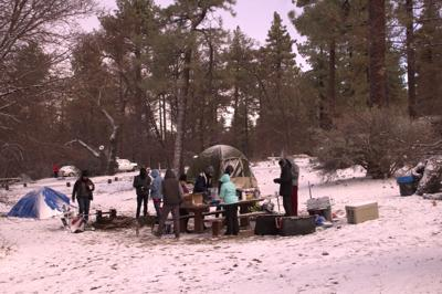 Students camp in snow for first time
