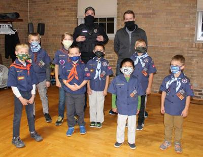 Patrol officers visit Kiel Cub Scout meeting