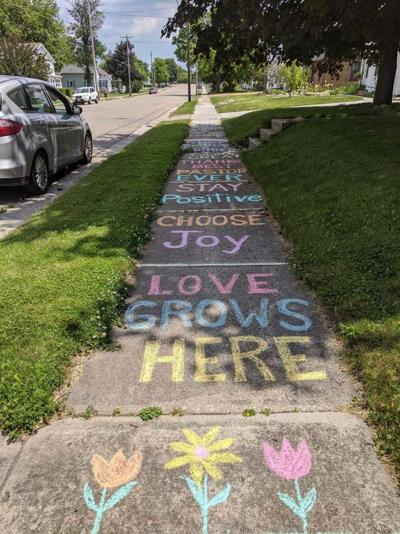 The Rev. Melinda Feller received notes of appreciation by way of sidewalk chalk drawings