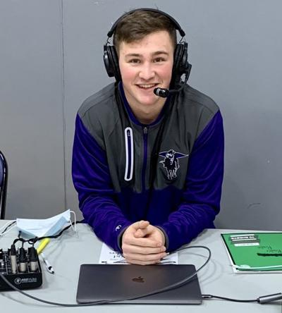 Connor Voelker calls basketball games this season instead of playing in them