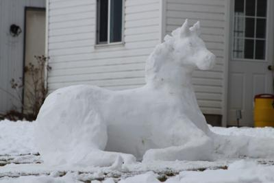 Look what was sculpted out of snow at a local Amish farm