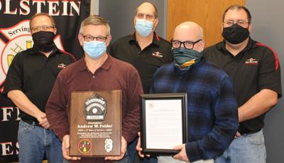 Andy Feider honored by New Holstein Fire Department, City of New Holstein