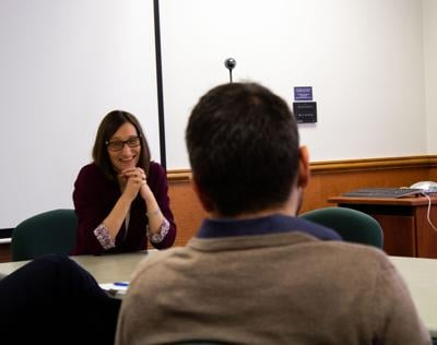 Debra Faszer-McMahon speaks to students as prospective Dean of the College of Arts and Letters