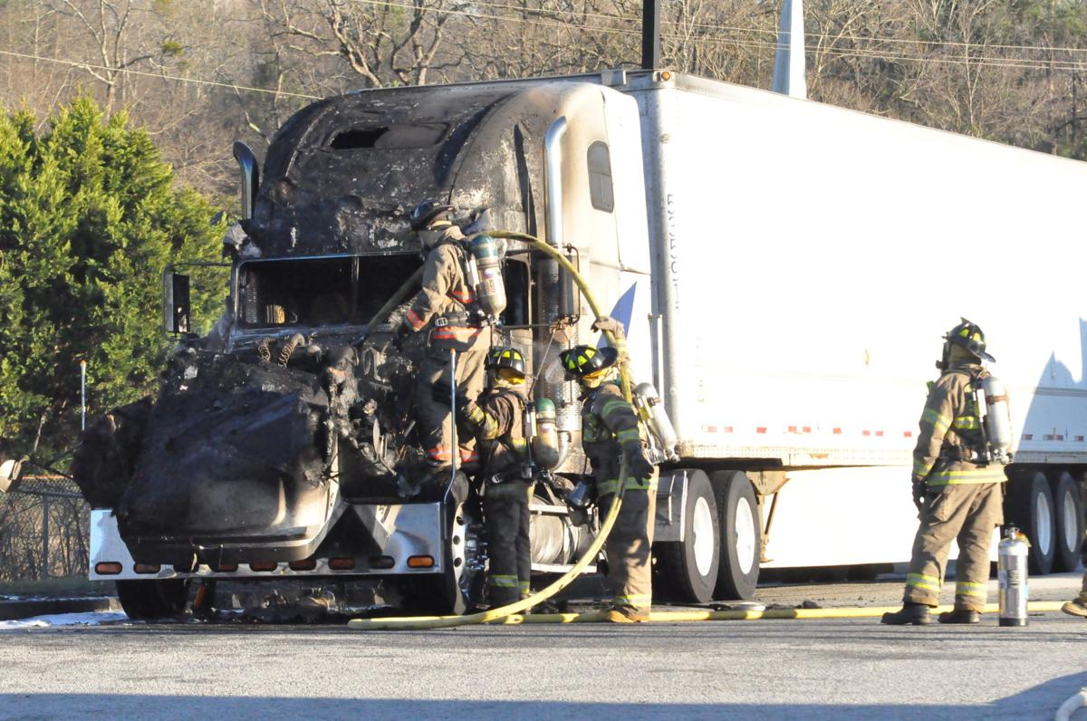 Tractor-trailer destroyed in fire