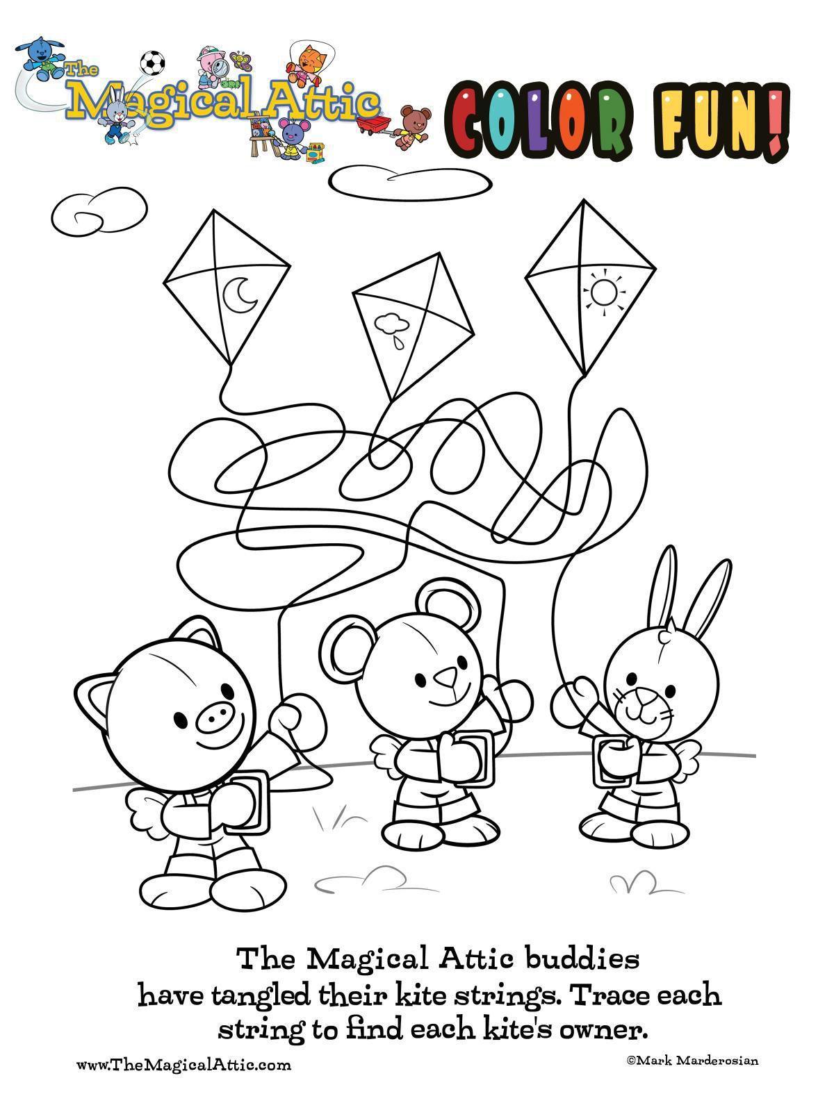 Coloring fun with kites