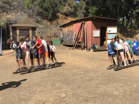 <p>Middle schoolers from Pardes Jewish Day School take part in a team-building exercise and challenge where teams have to move together to reach their goal. Pardes kicked off the new school year with its first retreat for middle school students at California's Camp Shalom from Aug. 20-22.</p>