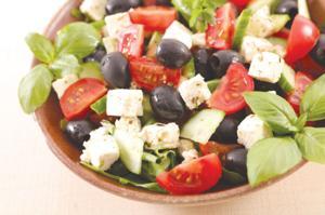 Salad with feta, tomato, olive and basil