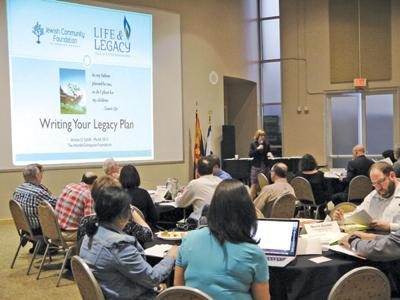 <p>Arlene D. Schiff, the national director of the Life & Legacy program of The Harold Grinspoon Foundation, begins training local participants on how to ask for bequests from their supporters at a March 18 session held in the Social Hall of the Ina Levine Jewish Community Campus in Scottsdale.  </p><p><em>    Photo courtesy of Jewish Community Foundation</em></p>