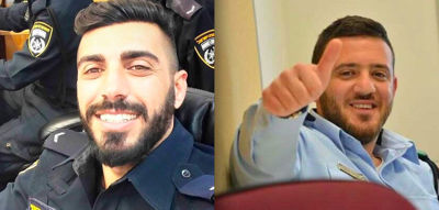 <p>Haiel Sitawe, left, and Kamil Shnaan, the two Israeli Druze police officers killed by Arab terrorists near Jerusalem's Temple Mount last week.</p>