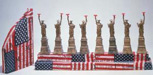 Miss Liberty Hanukkah lamp