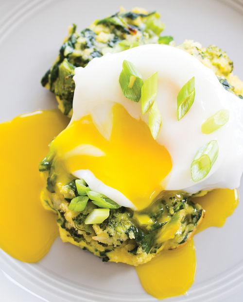 Spinach, Broccoli and Scallion Pancakes with Poached Eggs