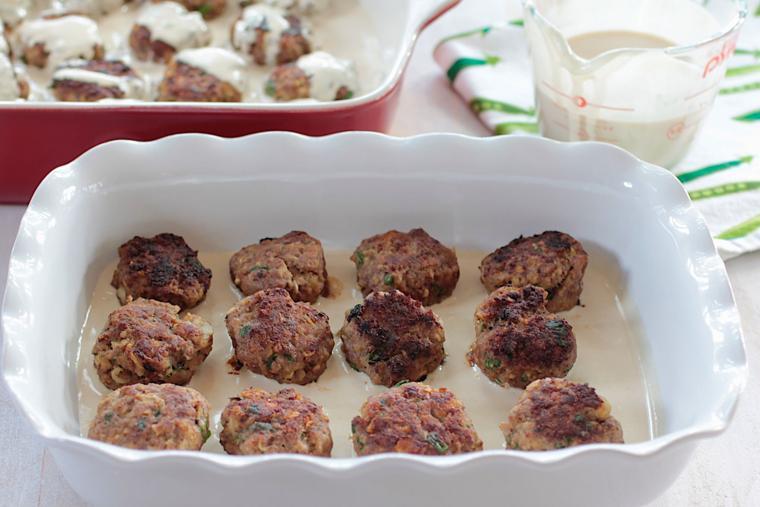 Meatballs with Tahini and Tomatoes