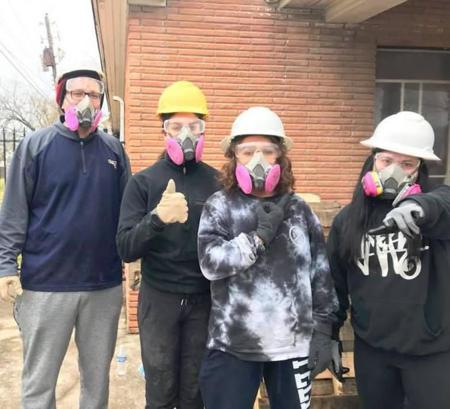 <p>A group of Valley teens, above, help with Hurricane Harvey relief efforts in Houston as part of the Bureau of Jewish Education's second Hebrew High Winter Care-A-Van. The teens were in Houston in December 2017.</p>