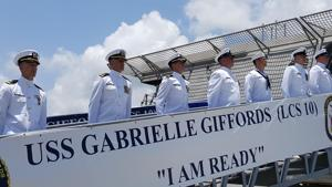 US Navy officially commissions ship named after Gabrielle Giffords
