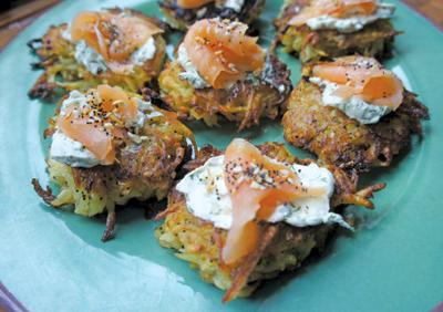 Everything Bagel Latkes with Dill Cream Cheese and Smoked Salmon