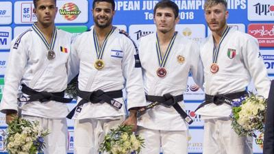 <p>Israel's Sagi Muki, second from left, receives the gold medal on the podium after winning in the men's under 81-kg weight category during the European Judo Championship in Tel Aviv on April 27, 2018.</p>