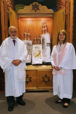 <p>Cantorial Soloist Michael Robbins, left, and Rabbi Allison Lawton, start their second year at Beth Ami Temple.</p>