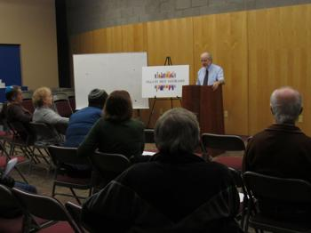 """<p class=""""p1"""">Professor Robert Eisen discusses 'The Peace and Violence of Judaism' at a Valley Beit Midrash event at Temple Kol Ami. He spoke about the rabbinic era and the Zionist movement and how views changed during those periods.</p>"""