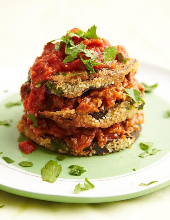 Eggplant Tomato Stacks with Homemade Marinara
