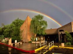 <p>A rainbow over Temple Solel.</p>