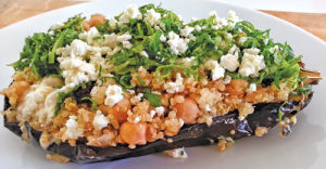 <p><span>Roasted Eggplant Stuffed with Warm Quinoa Salad </span></p><p><span></span></p>