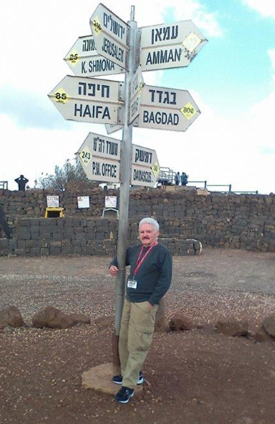<p>Mort Berkowitz enjoys a stop in Northern Israel outside of Kirayt Shmona as part of his Congregation Kehillah tour.</p>