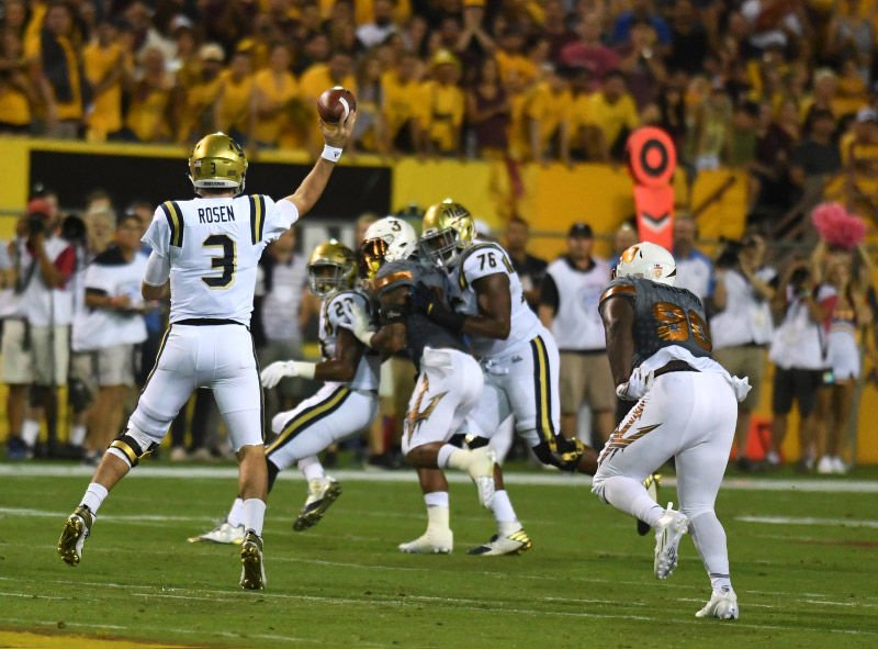 Rosen prepares to throw a pass as UCLA faced off against ASU in 2016. UCLA  lost to ASU 7c04ee20a