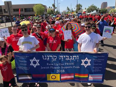 <p>The Valley's Jewish contingent at Phoenix Pride 2018 walks behind a banner declaring support for LGBTQ rights.</p>
