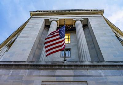 Facade Flags Justice Department Building Washington DC