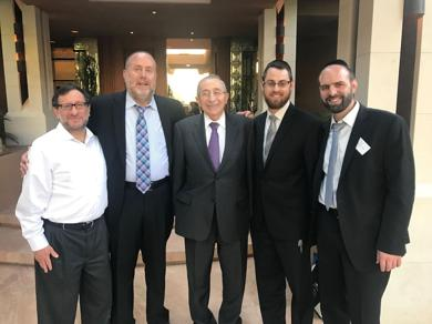 <p>Danny Shoen, David Segal, Rabbi Marvin Hier, Rabbi Gavriel Goetz and Rabbi Joseph Semel gather at a recent fundraiser.</p>