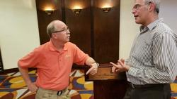 <p>Rev. Dave McGarrah, left, and Harold Berman, right, co-host 'The Teacher and the Preacher' radio show.</p>