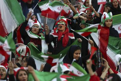 APTOPIX Iran Women At Match