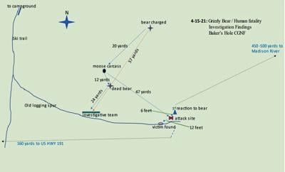 Map of the Carl Mock fatal grizzly bear mauling