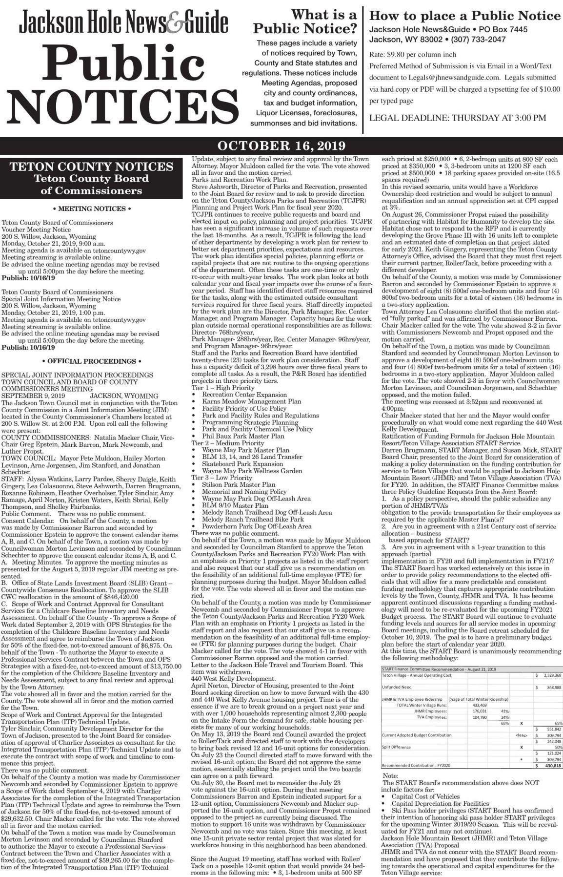 Public Notices, October 16, 2019