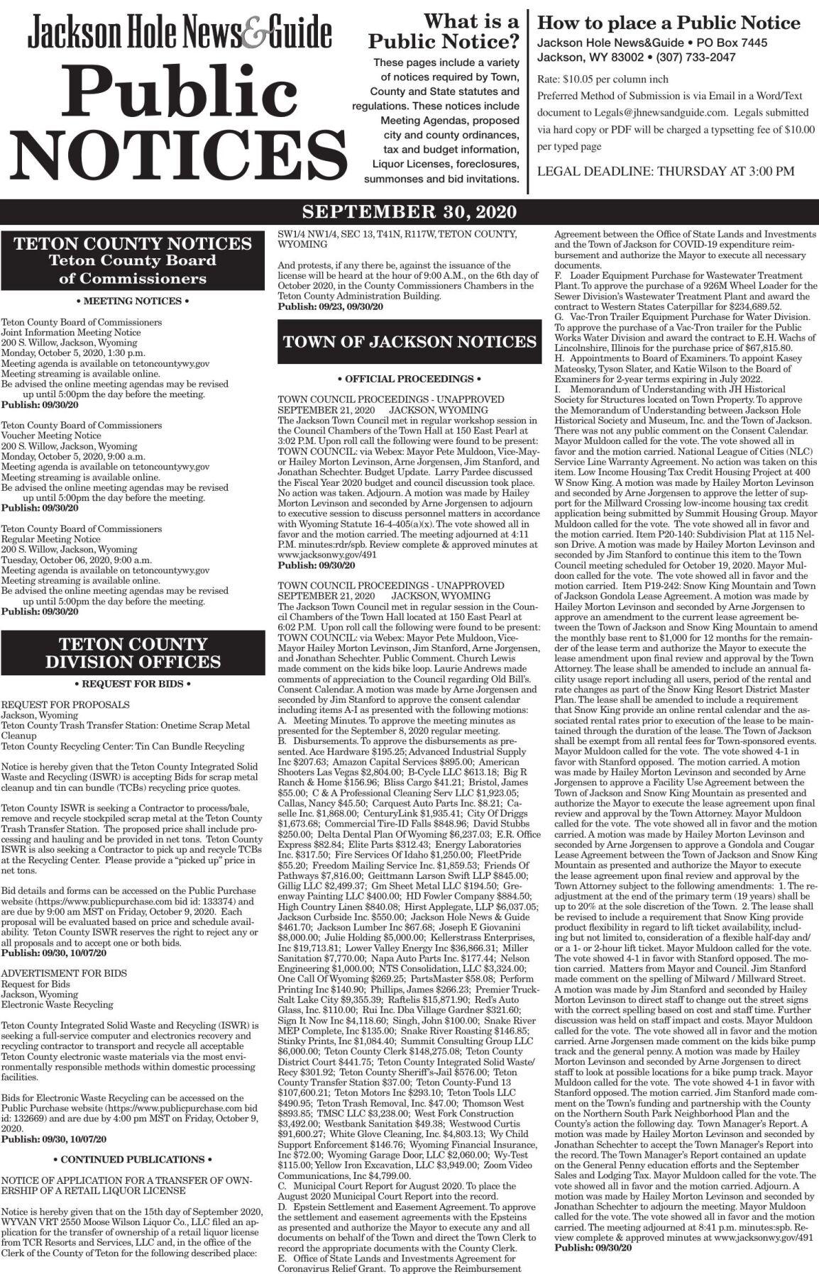 Public Notices, Sep.30 2020