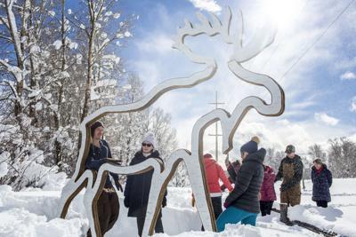 Highway 390 moose sculpture