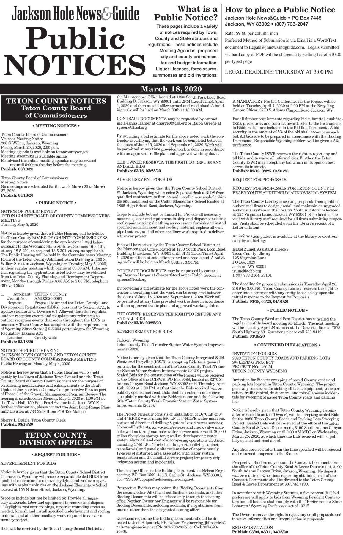 Public Notices, March 18, 2020