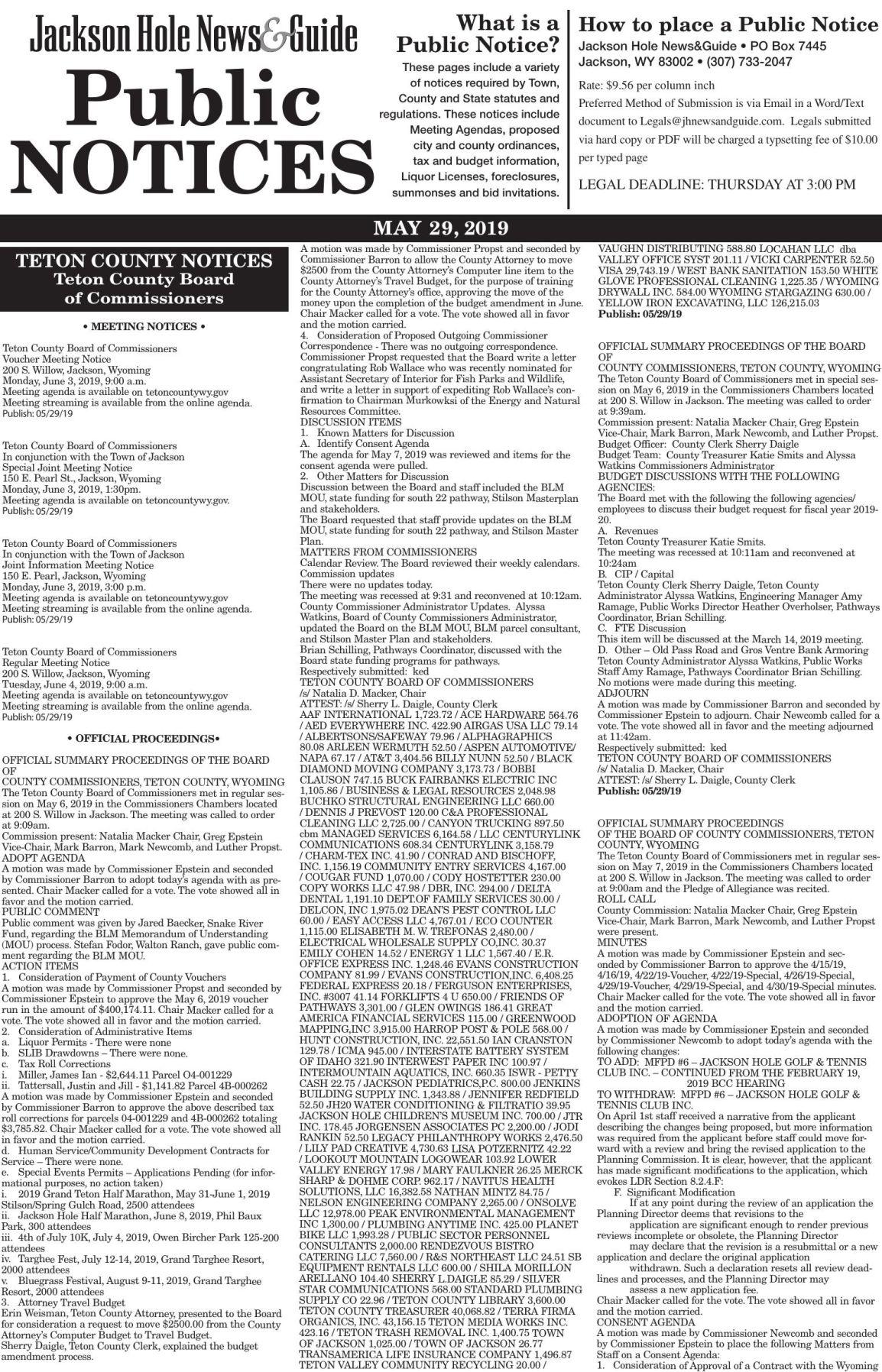 Public Notices, May 29, 2019