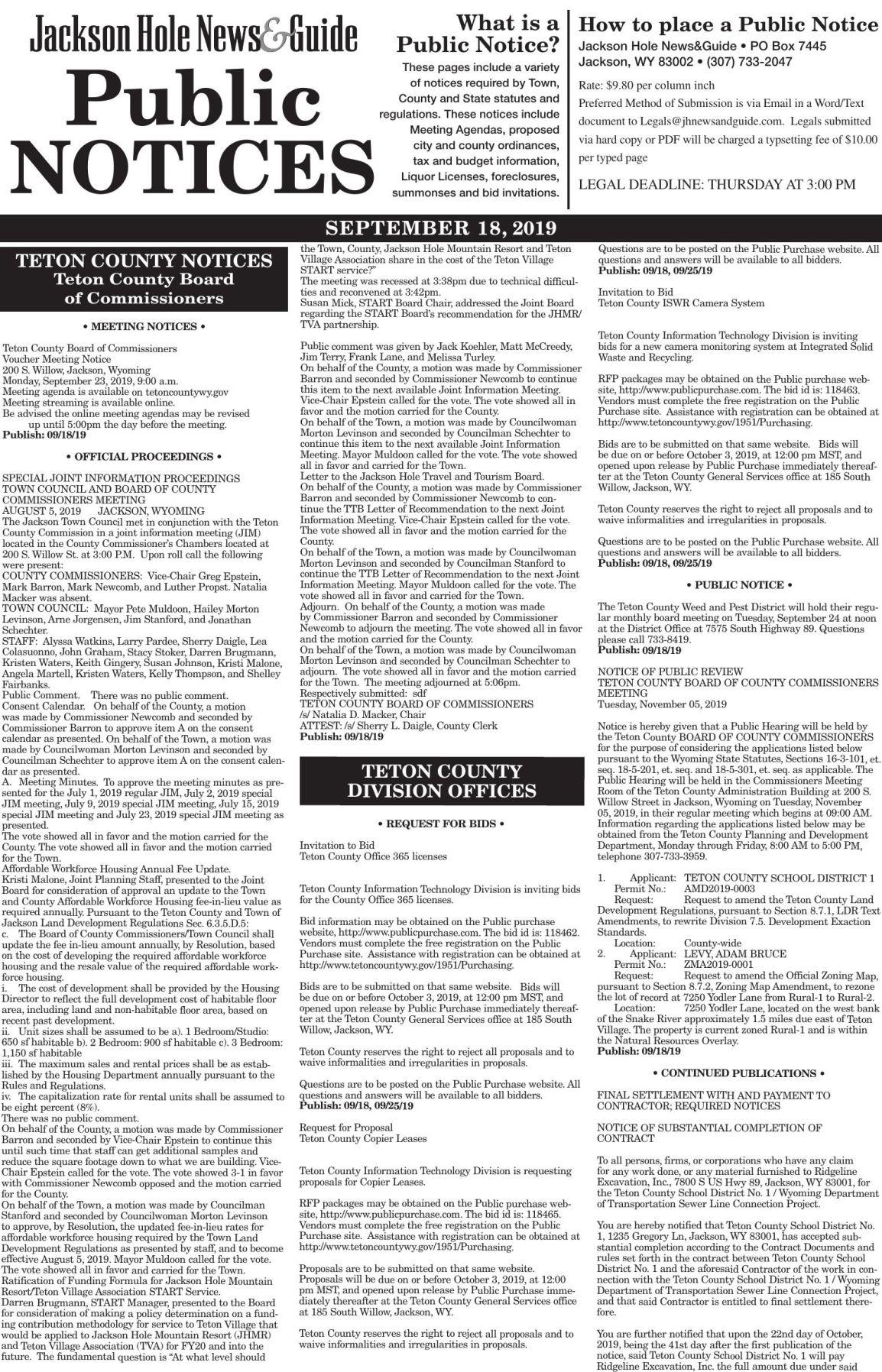 Public Notices, September 18, 2019