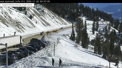 Stall semi on Teton Pass