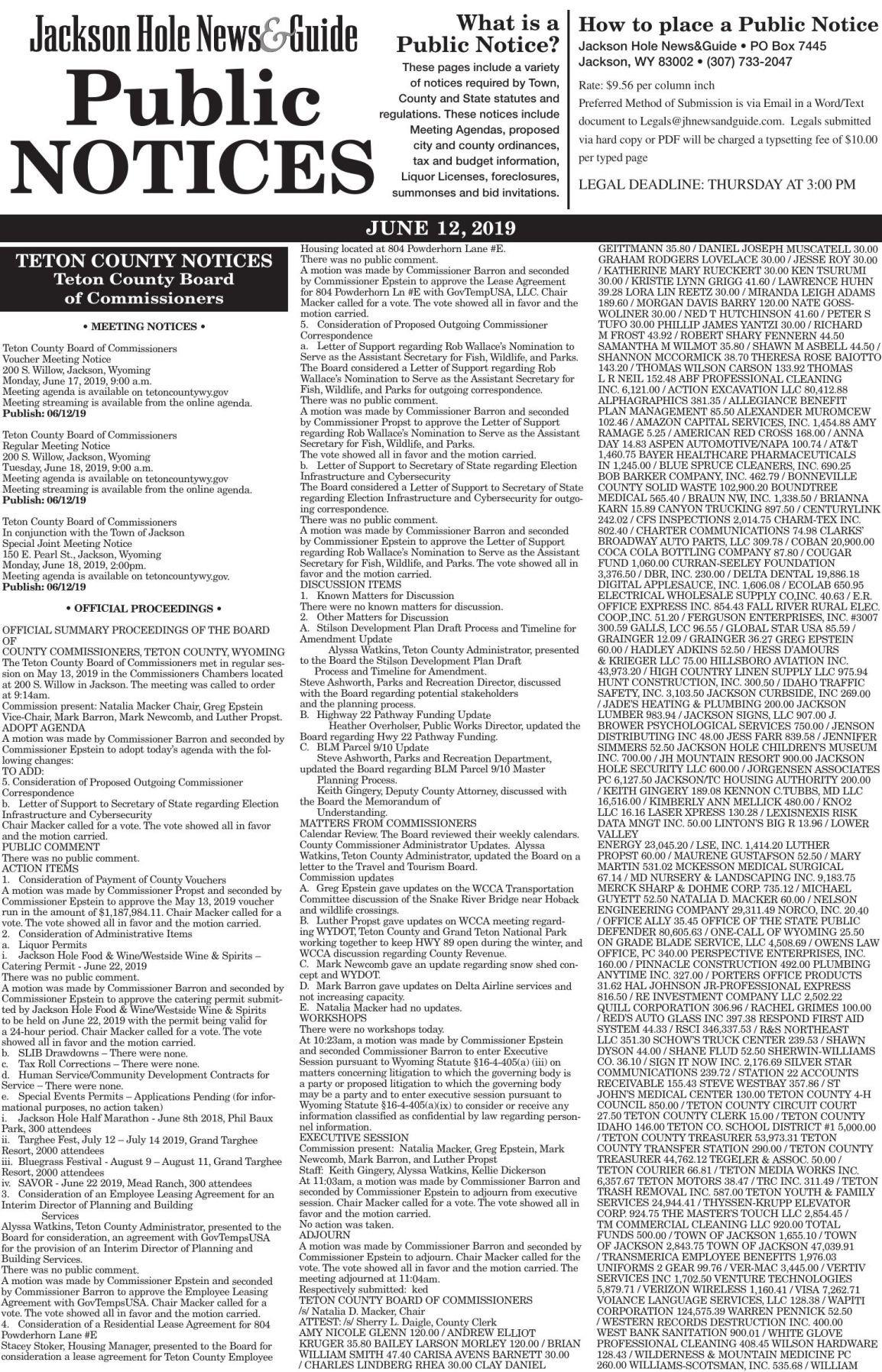 Public Notices, June 12, 2019