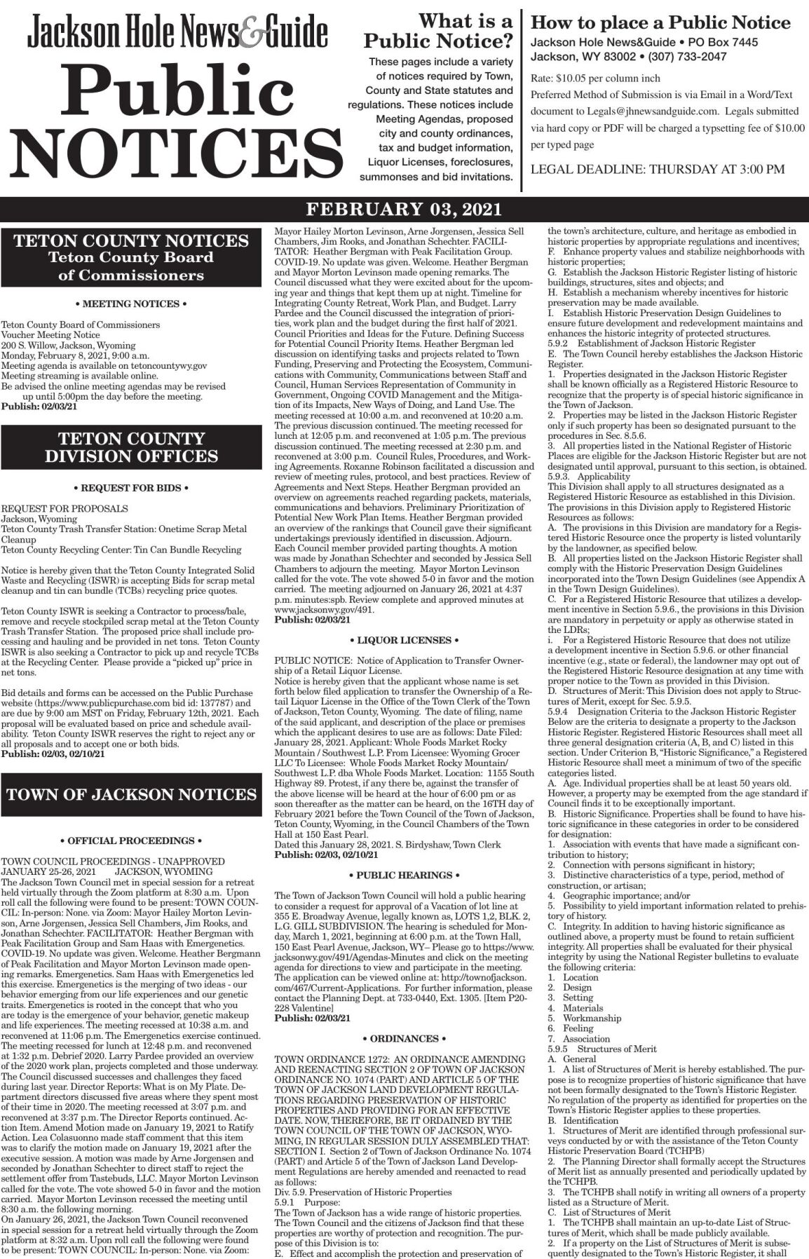 Public Notices, Feb. 03, 2021