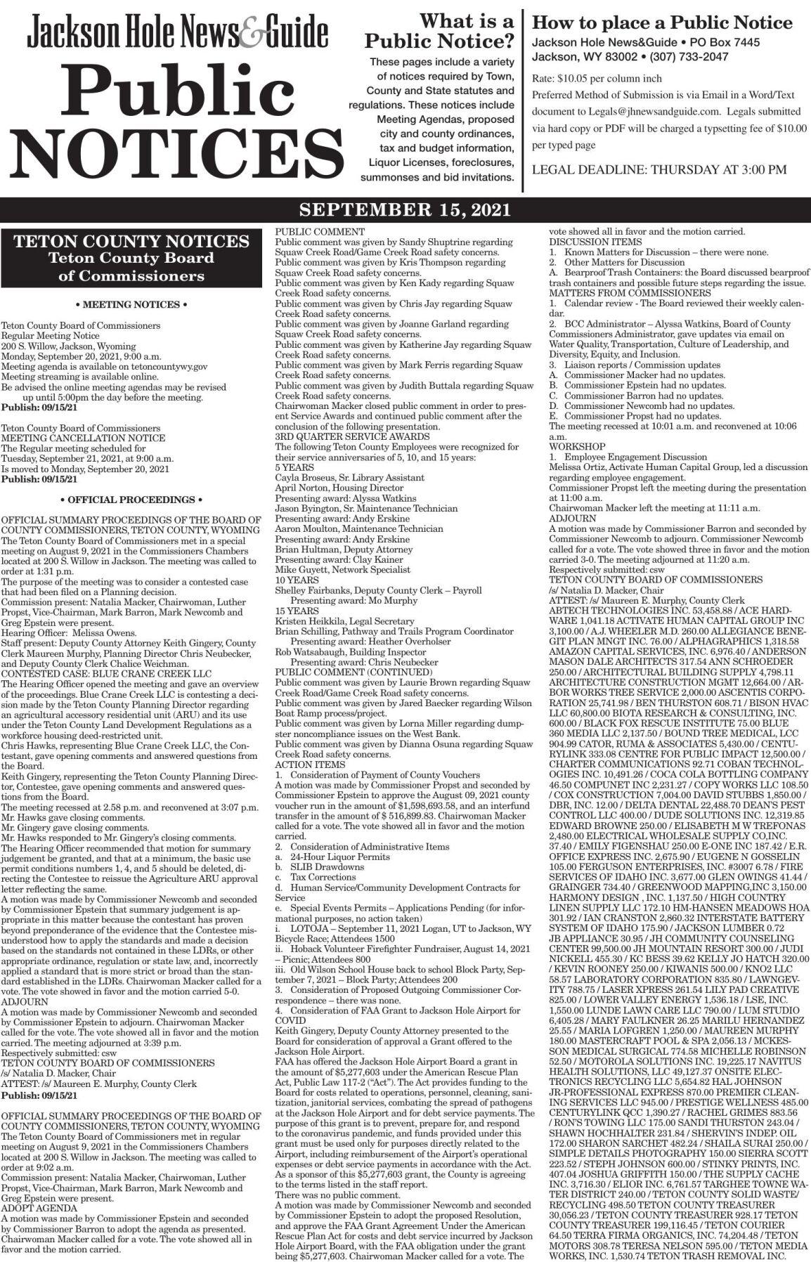 Public Notices, Sept. 15, 2021