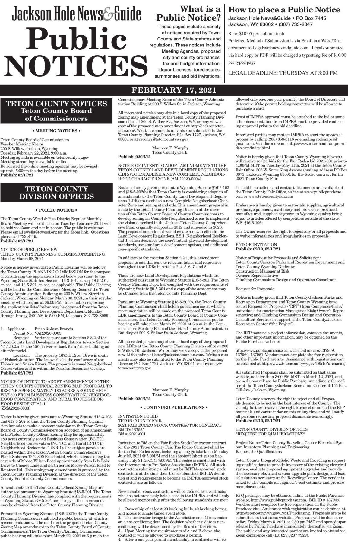 Public Notices, Feb. 17, 2021