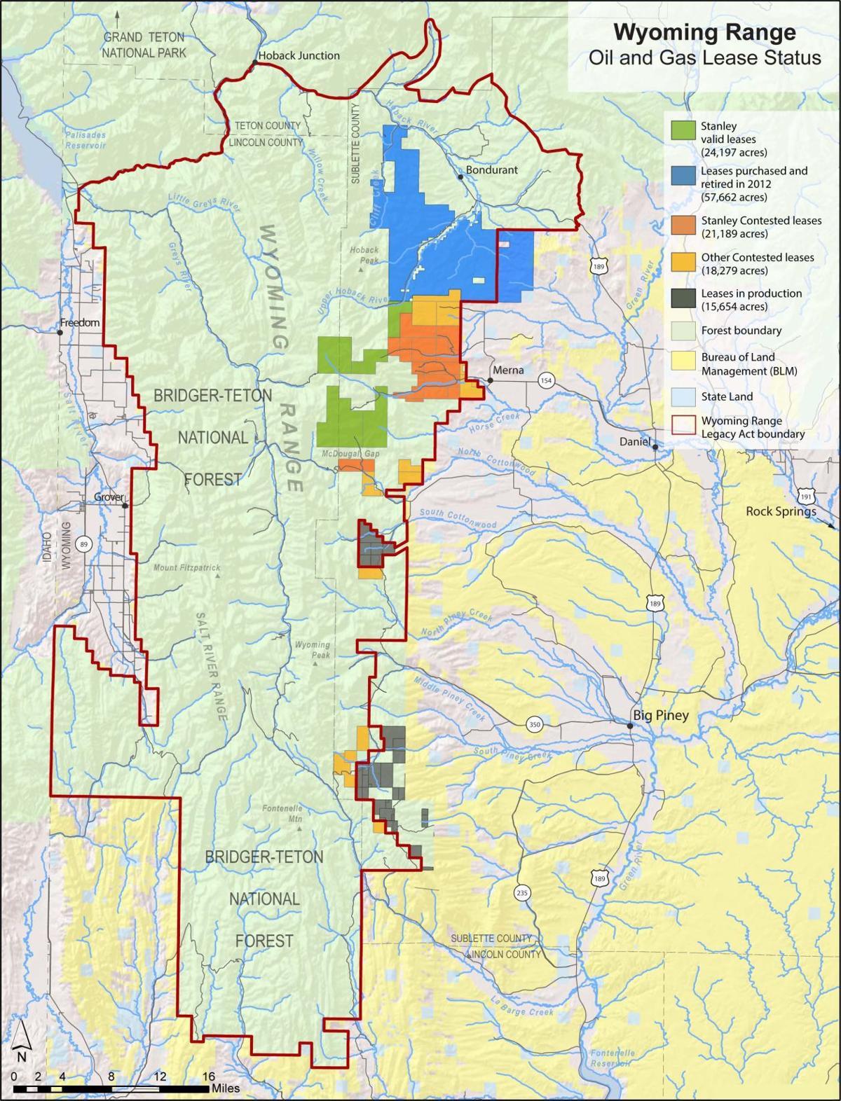 Wyoming Range Gas Lease Map