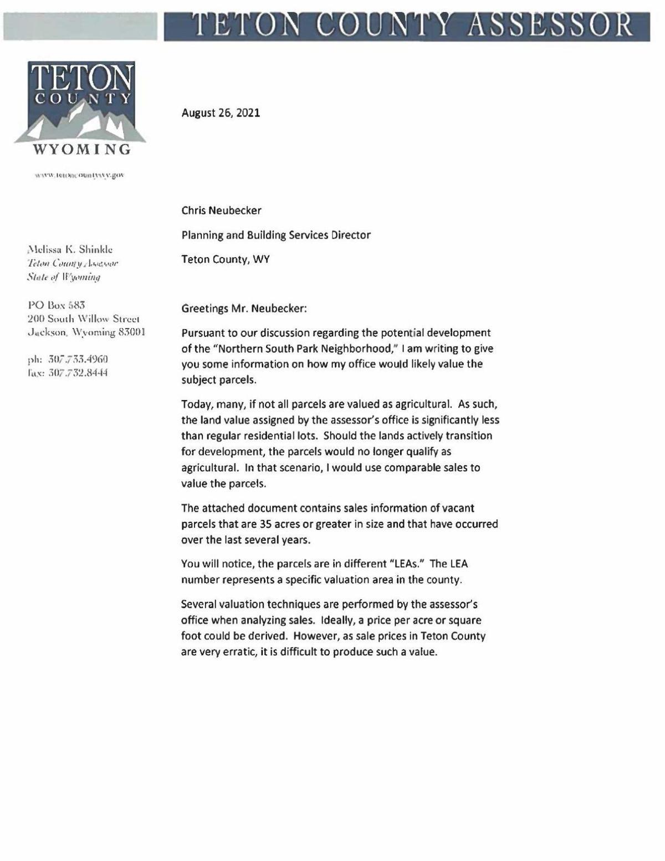Teton County Assessor letter