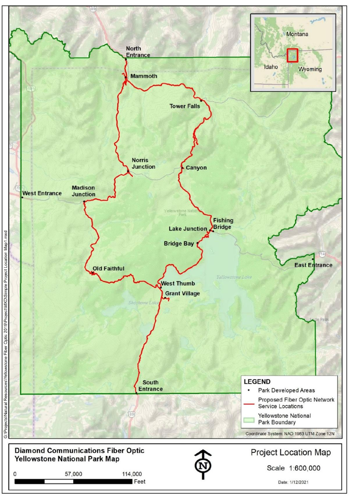 Yellowstone National Park proposed fiber optic network