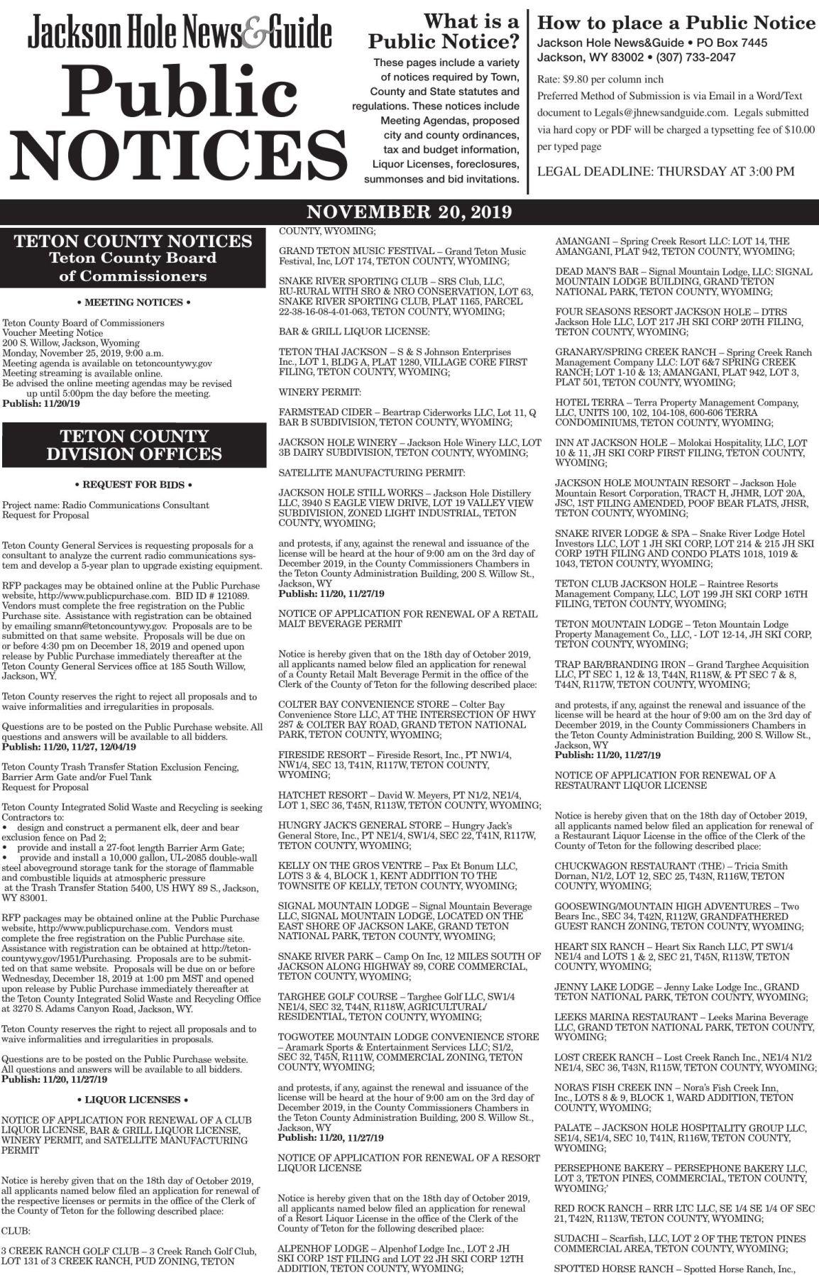 Public Notices, November 20, 2019