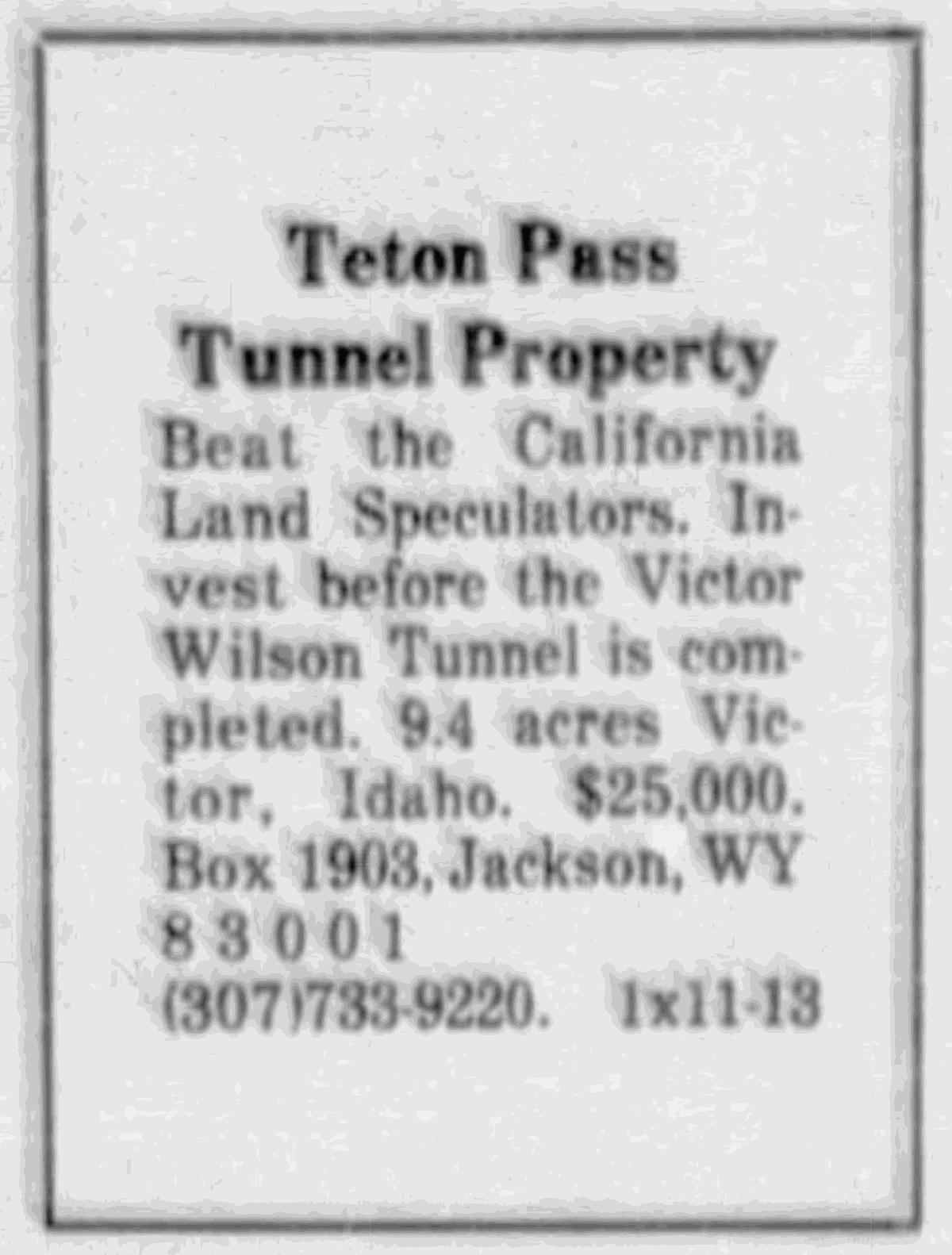 Teton Valley land ad